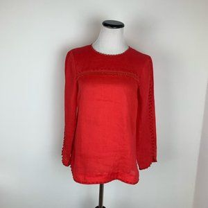 J. Crew Red Long Sleeve Linen Fringe Top